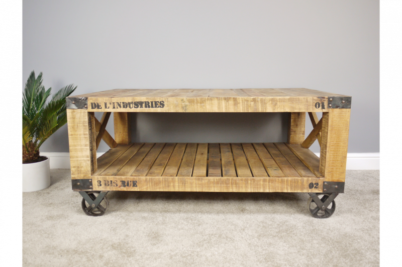 Urban Rustic Mango Wood Coffee Table Wheels