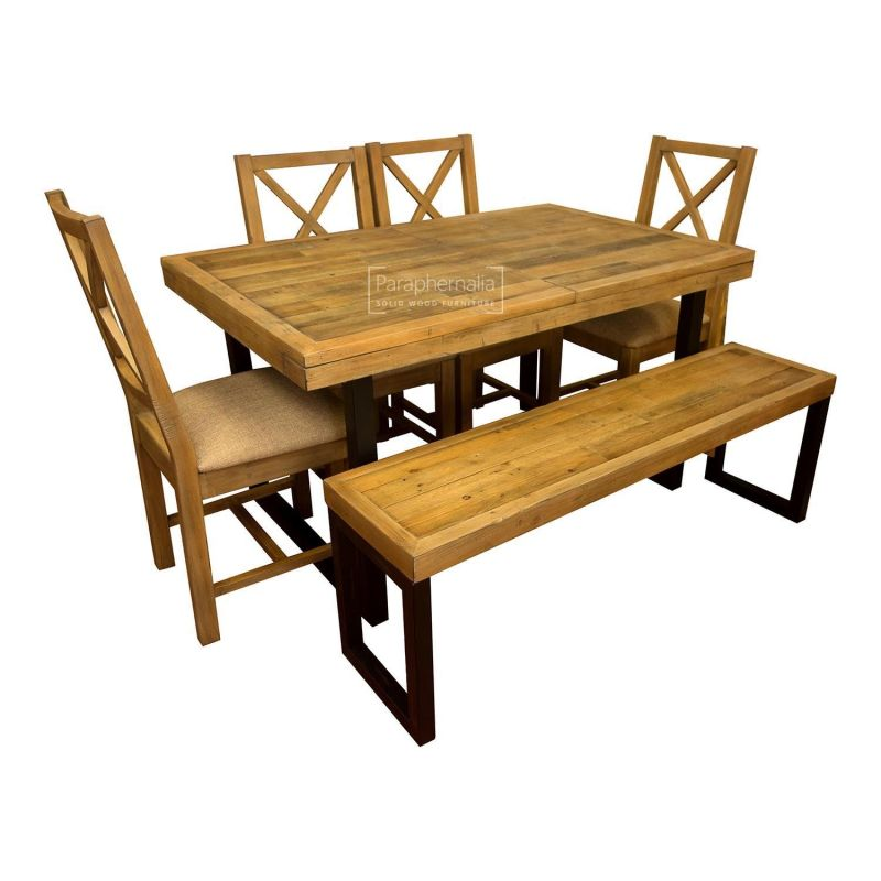 Awesome Dalat Industrial Dining Set Extending Table Four Chairs Bench Reclaimed Wood Set Creativecarmelina Interior Chair Design Creativecarmelinacom