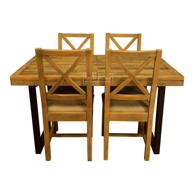 Dalat Industrial Dining Set - Extending table & four chairs ( Reclaimed  wood dining set )