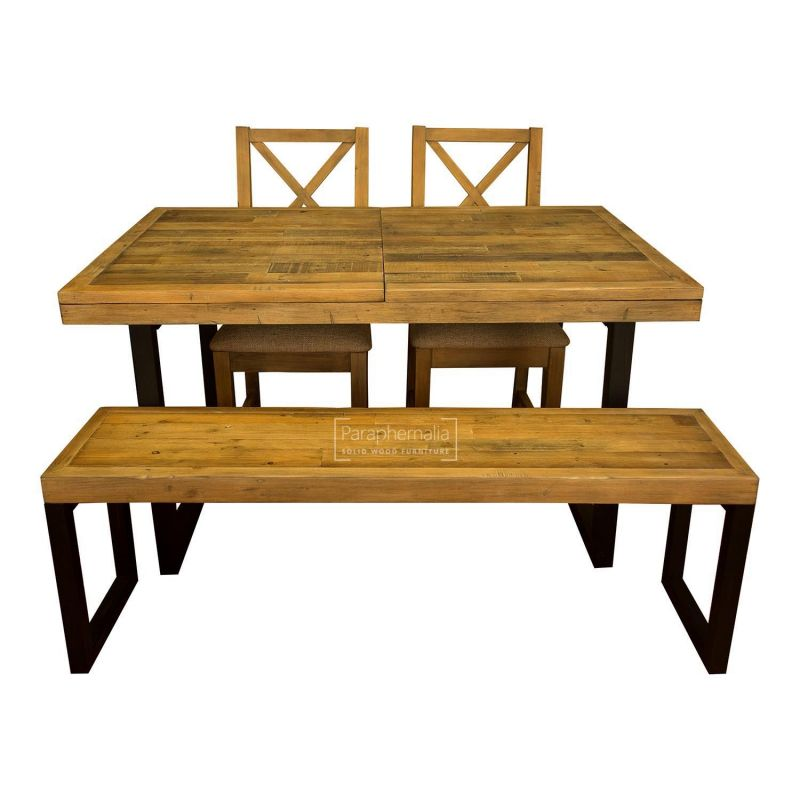 Dalat Industrial Dining Set Extending Table Two Chairs Bench Reclaimed Wood Dining Set