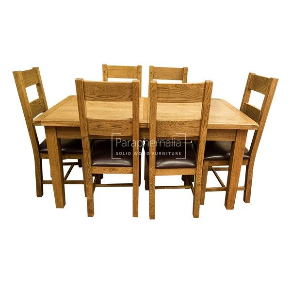 Siena Rustic Oak Extendable Dining Table Chairs Set