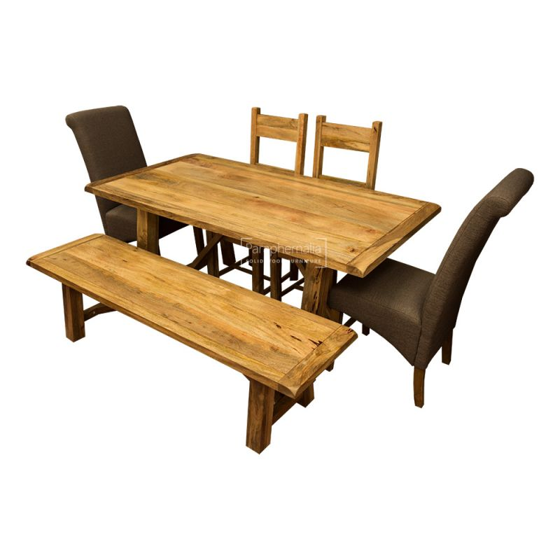 Stupendous Garda Light Mango Wood Dining Table Set Gmtry Best Dining Table And Chair Ideas Images Gmtryco