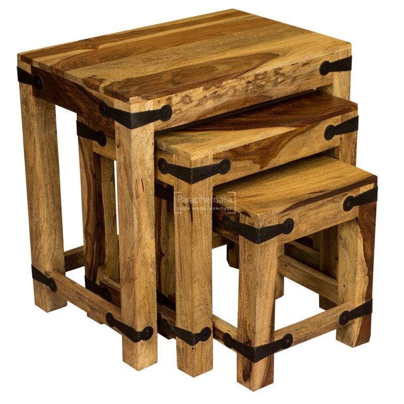 Jali Light Sheesham Wood Nest Of Tables Indian Wooden Side Tables