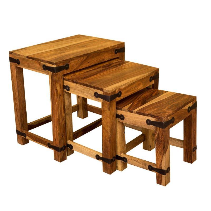 Jali Sheesham Wood Nest Of Tables Indian Wooden Side Tables Jali