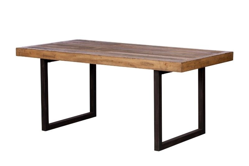 Dalat Reclaimed Industrial Dining Table 100 Reclaimed Rustic Solid Wood Dining Table On Black Metal Legs Fsc Certified Industrial Furniture