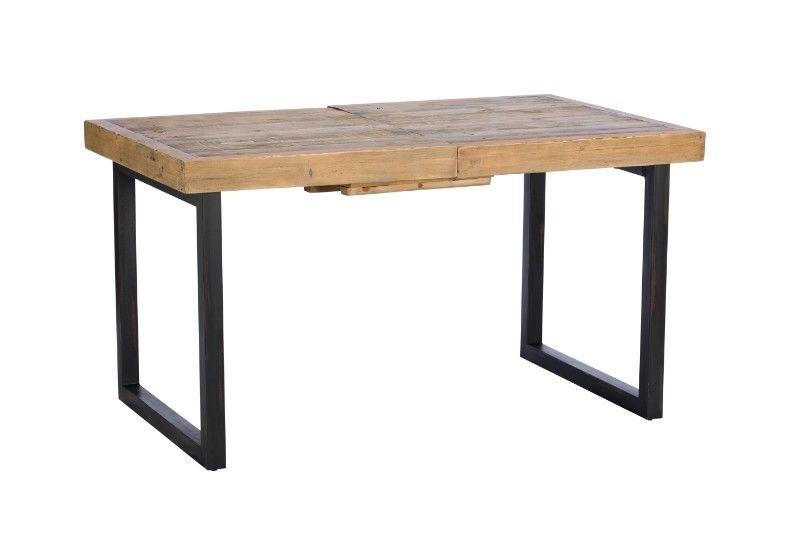 Dalat Dining Table Extending Legs Slide Across Reclaimed Wood