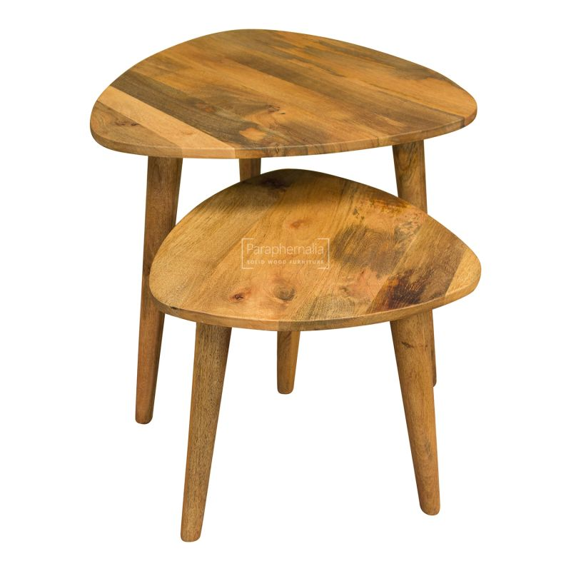 Oslo Light Mango Wood Nest Of Tables Abstract Design