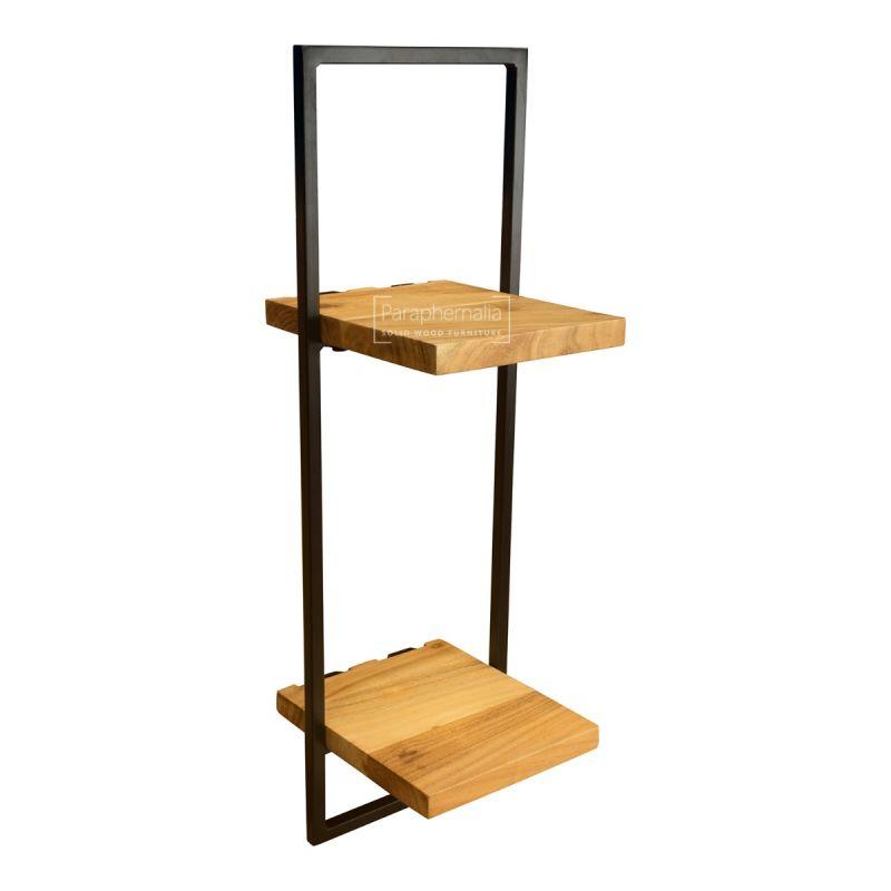 Urban Acacia Wood Wall Shelves Metal Frame Surround Choice Of 5 Sizes Living Edge Wall Shelf