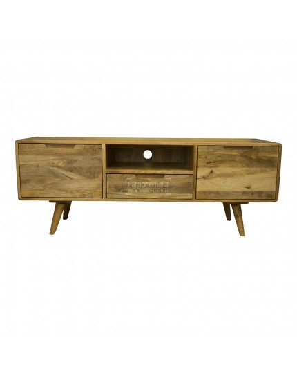 Oslo Light Mango Wood Tv Stand Shelf Drawer Large Tv Table