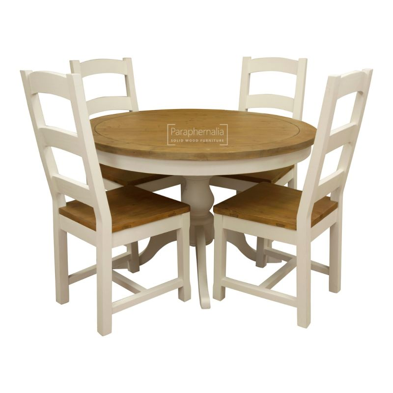 Himalaya Reclaimed Painted White Round Kitchen Table And Chairs