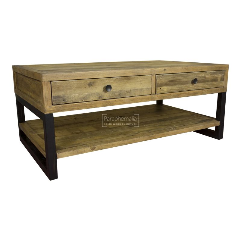 Dalat Coffee Table Two Drawer Reclaimed Wood