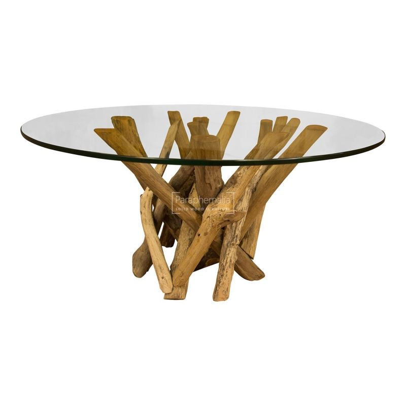 Round Coffee Table Wood.Java Teak Driftwood Glass Top Round Coffee Table
