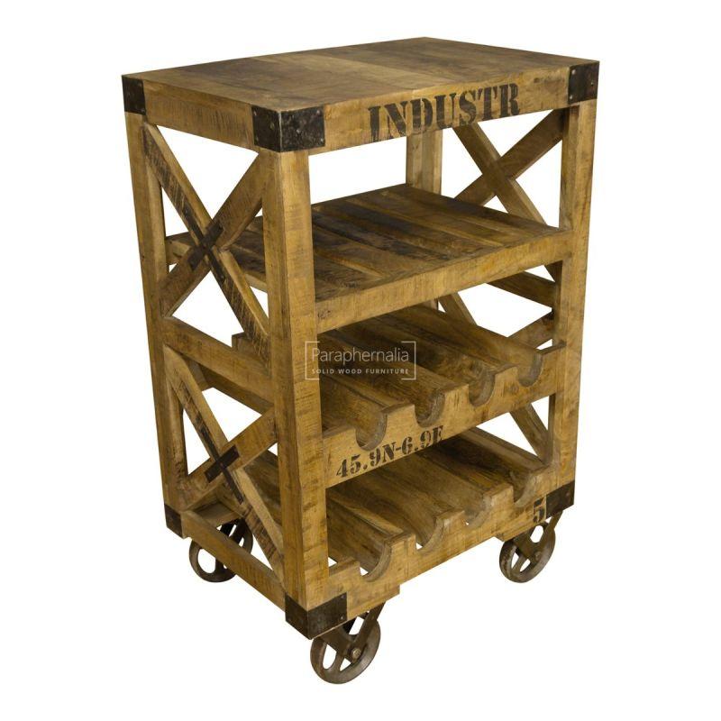 Rustic Mango Wood Industrial Wine Rack Trolley