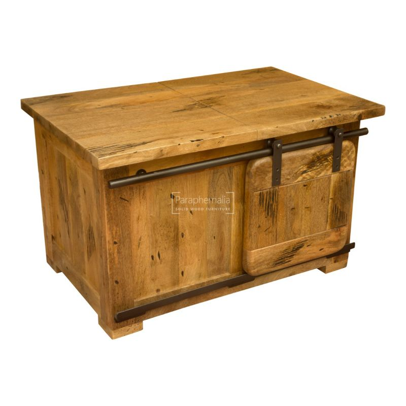 Forge Rustic Mango Wood Small Coffee Table With Storage Solid Indian Industrial Rustic Mango Wood Small Coffee Trunk With Sliding Doors Industrial Mango Furniture