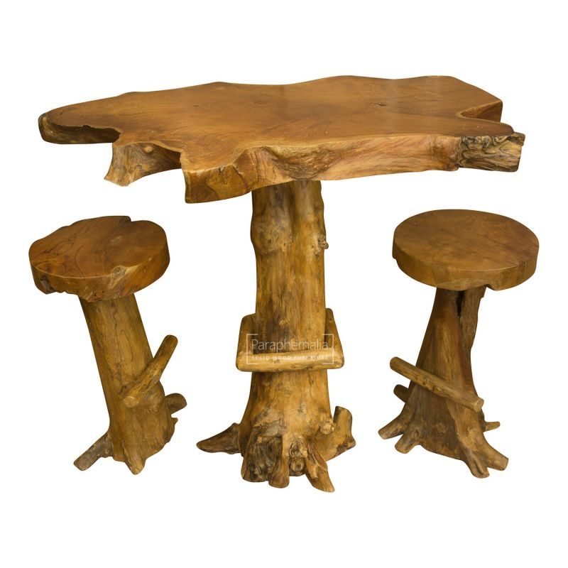 Java Teak Root Wood Bar Table Kitchen Breakfast Bar Table Two