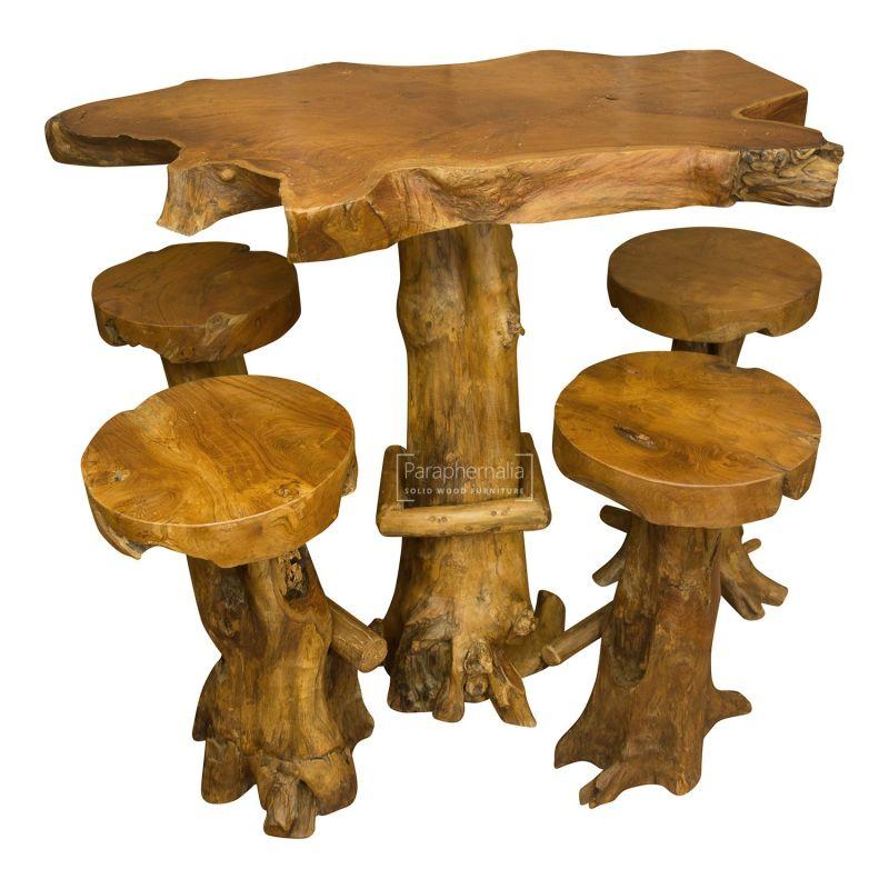 Outstanding Java Teak Root Wood Bar Table Kitchen Breakfast Bar Table Four Backless Bar Stools Machost Co Dining Chair Design Ideas Machostcouk