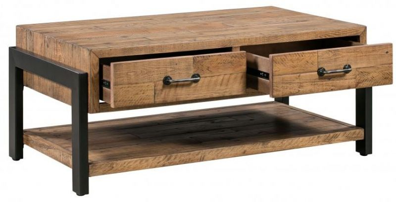 Jasper Reclaimed Wood Coffee Table With Two Drawers Industrial Style Black Metal Frame And Handles Sustainable Reclaimed Wooden Coffee Table