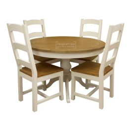 Himalaya Reclaimed Painted White Round Kitchen Table And