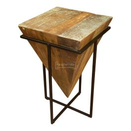 Reclaimed Wood Prism Side Table Rustic Recyled Wood