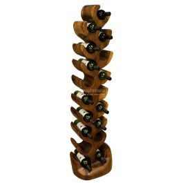 Solid Teak Tree Wine Rack Hand Carved Wooden Tree Wine